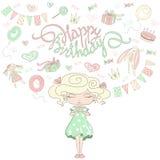 Mała dziewczynka marzy o przyjęciu urodzinowym Obrazy Stock