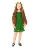 Mała dziewczynka portret, dzieciak z kwiatem w długie włosy Fotografia Stock
