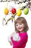 Mała dziewczynka z jej królikiem Obrazy Royalty Free