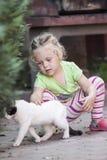 mała kot dziewczyna Zdjęcia Royalty Free