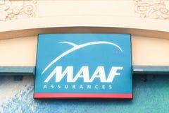 MAAF-verzekeringenembleem op een muur Royalty-vrije Stock Foto's