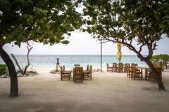 Maafushi海滩,马尔代夫 免版税库存照片