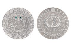 Maagd Witrussisch zilveren muntstuk stock foto