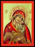 Maagdelijk Mary en Jesus Greek Icon Royalty-vrije Stock Foto's