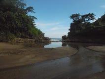 Maagdelijk strand stock afbeeldingen