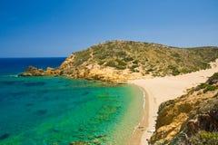 Maagdelijk zandstrand - Griekenland Stock Foto's