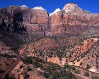 Maagdelijke bergen, Zion NationalPark. Stock Fotografie