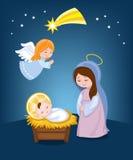 Maagdelijke Mary en baby Jesus Kerstmis Stock Foto's