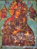 Maagdelijke Mary en baby Jesus, oud pictogram Maagdelijke Mary geniet van grote verering in Christendom, toestaat gelovigen om te stock fotografie
