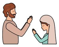 Maagdelijke Mary en heilige Joseph vector illustratie