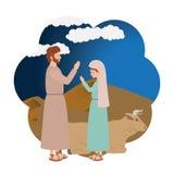 Maagdelijke Mary en heilige Joseph royalty-vrije illustratie