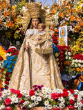 Maagdelijke Mary Flower Sculpture Las Fallas Valencia Spain Royalty-vrije Stock Fotografie