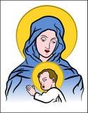 Maagdelijke Mary met Jesus Stock Afbeelding