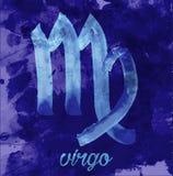 Maagdpictogram van dierenriem, vectorillustratiepictogram astrologische tekens, beeld van horoscoop Water-kleur stijl Stock Fotografie