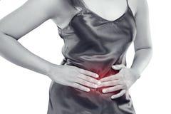 Maagpijn, voedselvergiftiging stock afbeeldingen