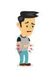 Maagpijn, voedselvergiftiging, maagproblemen de vector vlakke illustratie van het beeldverhaalconcept van de voedselvergiftiging  Royalty-vrije Stock Foto