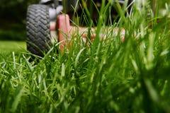 Maai gazon lage hoek van grasmaaier scherp gras royalty-vrije stock afbeelding
