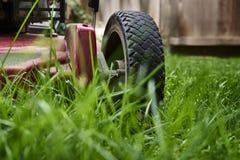 Maai gazon lage hoek van grasmaaier scherp gras stock afbeeldingen
