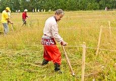 Maai met de hand het gras De zomer, hooien Hooier Het maaiende gras is een het hellen groot art. Het hoge gras is geschikter stock fotografie
