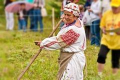 Maai met de hand het gras De zomer, hooien Hooier Het maaiende gras is een het hellen groot art. royalty-vrije stock foto