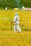 Maai met de hand het gras De zomer, hooien Het maaiende gras is een het hellen groot art. Het hoge gras is geschikter stock afbeelding