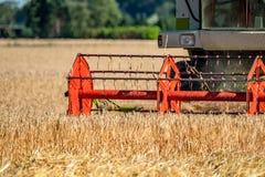 Maaidorser het oogsten tarwe stock afbeelding