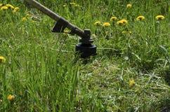 Maaiend gazon, hoog gras met snoeischaar Stock Afbeeldingen