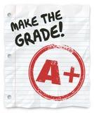 Maak de Rang A plus Schoolrapport bewijzen Stock Foto's