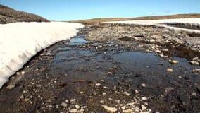 Maak duidelijk water in kreek op kust van Noordpooloceaan op Nieuwe Aarde schoon stock footage