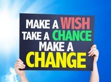 Maak een Wens een Kans nemen maken een Veranderingskaart met een mooie dag Stock Foto's