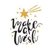 Maak een wens kalligrafie Het met de hand geschreven borstel van letters voorzien voor groetkaart, affiche, uitnodiging, banner H vector illustratie