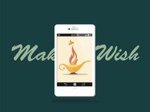 Maak een wens! Moderne Aladdins-Lamp Royalty-vrije Illustratie
