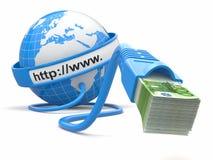 Maak geld online. Concept. Aarde en Internet kabel met geld. Stock Afbeelding