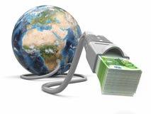 Maak geld online. Concept. Aarde en Internet kabel met geld. Stock Fotografie