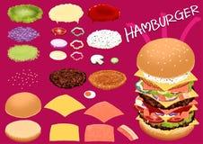 Maak hamburger door uw ontwerp zeer snel voedsel Stock Foto's