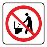 Maak niet binnen van aan toiletpictogram een rommel royalty-vrije illustratie