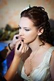 Maak omhoog de bruid Stock Foto