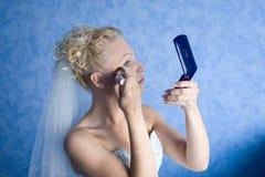Maak omhoog ochtend van de bruid Stock Afbeeldingen