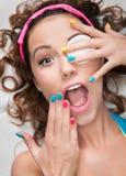 Maak omhoog ontbreken of kosmetisch allergieconcept Stock Fotografie