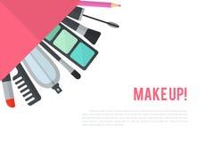 Maak omhoog vlakke illustratie met lippenstift, kam, borstel Stock Fotografie