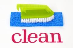 Maak - sponsen en borstel schoon stock fotografie
