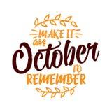 Maak tot het te herinneren Oktober zich royalty-vrije illustratie