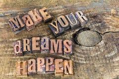 Maak uw dromen gebeuren letterzetsel royalty-vrije stock fotografie