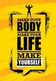 Maak Uw Lichaam Maak Uw Leven Maak me Inspirerend Training en van de Geschiktheidsgymnastiek Motivatiecitaat Bannerconcept royalty-vrije illustratie