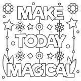 Maak vandaag magisch Kleurende pagina Vector illustratie Stock Afbeeldingen