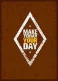 Maak vandaag tot Uw Dag Creatief Motivatiecitaat Vectorgrunge-Afficheconcept stock illustratie