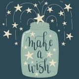 ` Maak wens` hand het van letters voorzien royalty-vrije illustratie