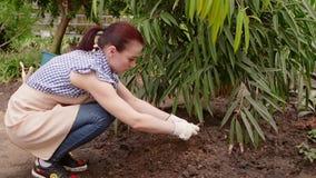 Maakt de vrouwen professionele tuinman in handschoenen de grond met een speciaal hulpmiddel los stock footage