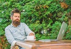 Maakt mensen gebaarde hipster pauze voor drinkt koffie en denkt terwijl met laptop zit De kerel drinkt koffie het ontspannen terr royalty-vrije stock afbeelding