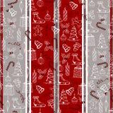 Maakte de Kerstmis naadloze textuur met de Kerstmisvoorwerpen in de met de hand geschilderde stijl op de rood-grijze achtergrond Stock Foto
